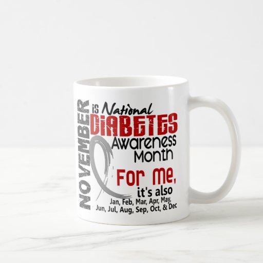 Mes de la conciencia de la diabetes cada mes para taza clásica