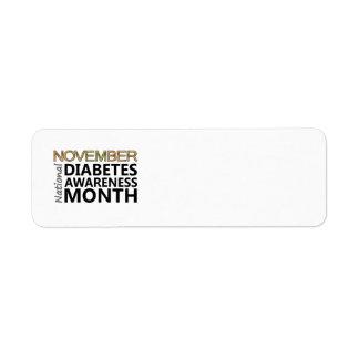 Mes de la conciencia de la diabetes de noviembre etiqueta de remite