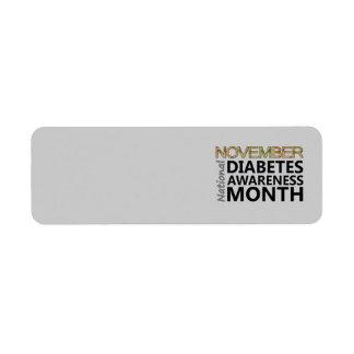 Mes de la conciencia de la diabetes de noviembre etiqueta de remitente