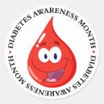 Mes de la conciencia de la diabetes pegatinas redondas