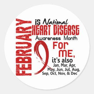 Mes de la conciencia de la enfermedad cardíaca etiqueta redonda