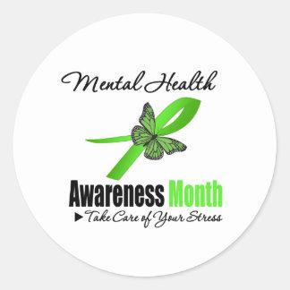 Mes de la conciencia de la salud mental pegatina redonda