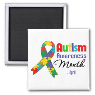 Mes de la conciencia del autismo imán cuadrado