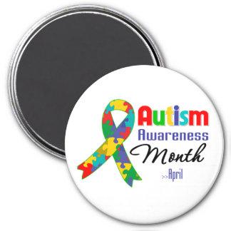 Mes de la conciencia del autismo imán redondo 7 cm