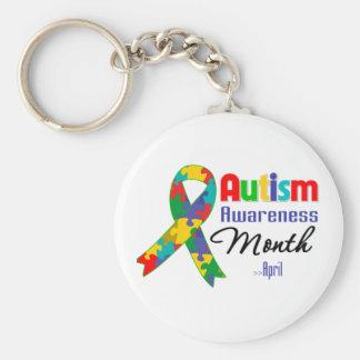 Mes de la conciencia del autismo llavero redondo tipo pin