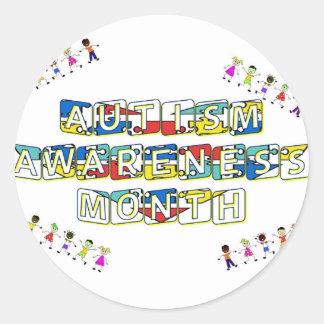 Mes de la conciencia del autismo etiqueta redonda