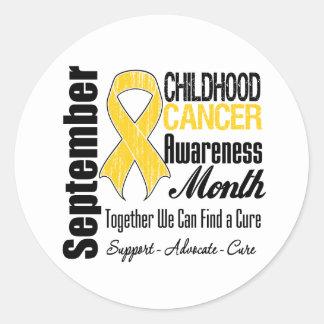 Mes de la conciencia del cáncer de la niñez de etiqueta redonda
