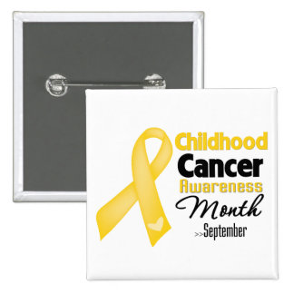Mes de la conciencia del cáncer de la niñez pin cuadrada 5 cm