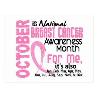 Mes de la conciencia del cáncer de pecho cada mes postal