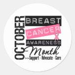 Mes de la CONCIENCIA del cáncer de pecho Etiqueta Redonda
