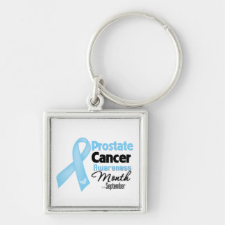 Mes de la conciencia del cáncer de próstata llavero cuadrado plateado