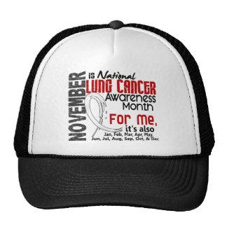 Mes de la conciencia del cáncer de pulmón cada mes gorras