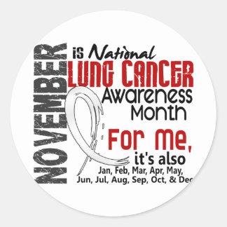 Mes de la conciencia del cáncer de pulmón cada mes pegatina redonda