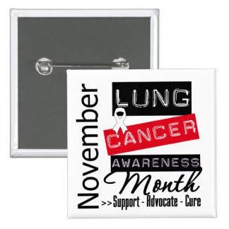 Mes de la conciencia del cáncer de pulmón pin cuadrada 5 cm