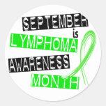 Mes de la conciencia del linfoma etiqueta redonda
