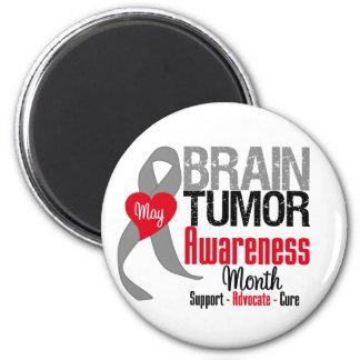 Mes de la conciencia del tumor cerebral imán redondo 5 cm