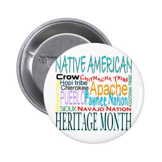Mes de la herencia del nativo americano pin redondo de 2 pulgadas
