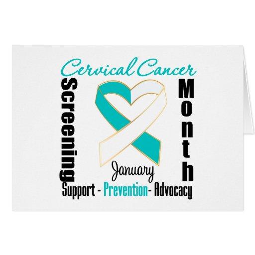 Mes de la investigación de cáncer de cuello del út tarjeton