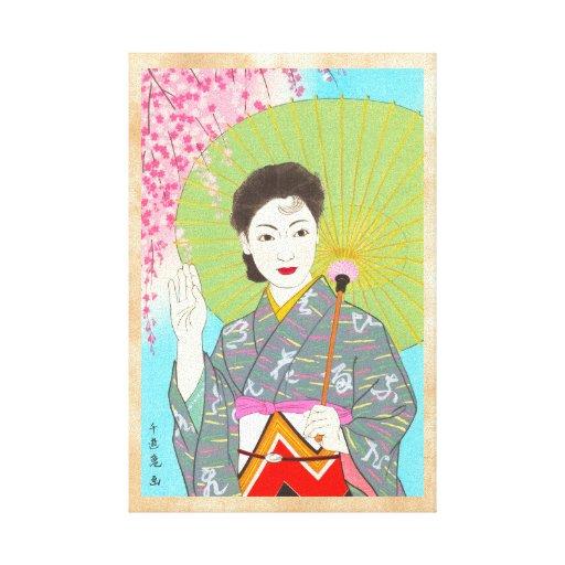 Mes japonés de los chicas de Onuma Chiyuki - abril Lona Envuelta Para Galerias