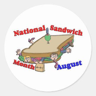 Mes nacional del bocadillo de agosto etiqueta redonda