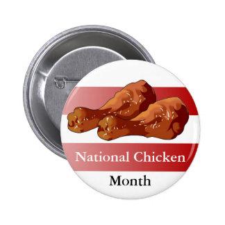 Mes nacional del pollo (alas) pin redondo de 2 pulgadas