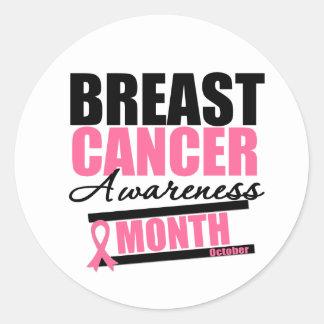 Mes v3 de la conciencia del cáncer de pecho pegatina redonda