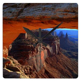 Mesa Arch at Sunrise, Utah Square Wall Clock