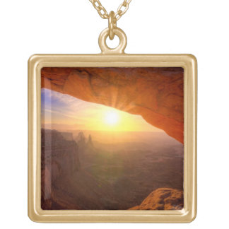 Mesa Arch, Canyonlands National Park Gold Plated Necklace