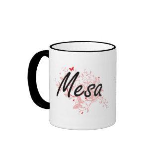 Mesa Arizona City Artistic design with butterflies Ringer Mug