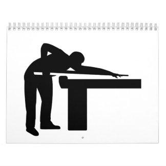 Mesa de billar del jugador de billares calendario de pared
