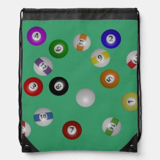 Mesa de billar y bolas mochila