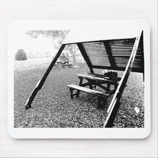 Mesa de picnic de la pluma y de la tinta tapete de raton