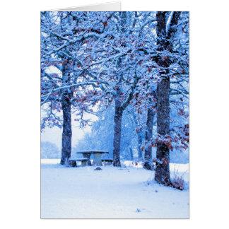 Mesa de picnic en invierno tarjeta de felicitación
