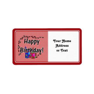 Mesa de picnic w/Ants del feliz cumpleaños Etiqueta De Dirección