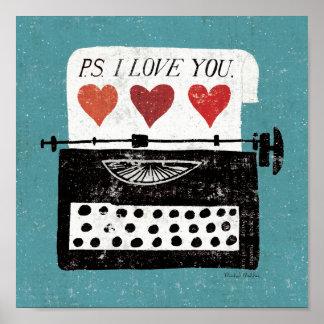Mesa del vintage - máquina de escribir póster