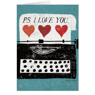 Mesa del vintage - máquina de escribir tarjeta de felicitación