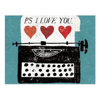 Mesa del vintage - máquina de escribir tarjeta postal