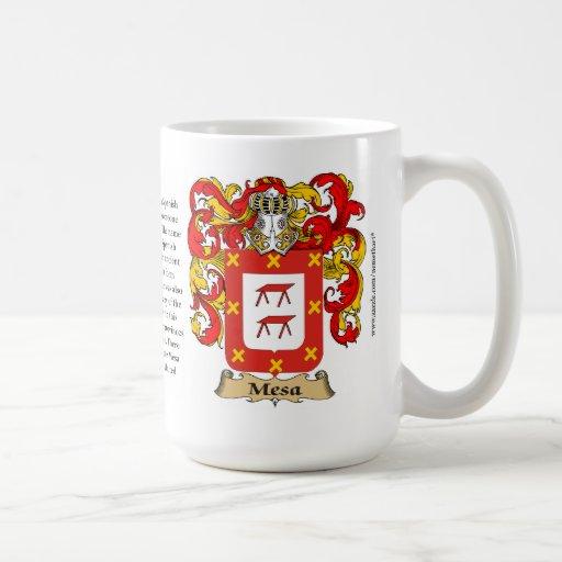 Mesa, el origen, el significado y el escudo taza