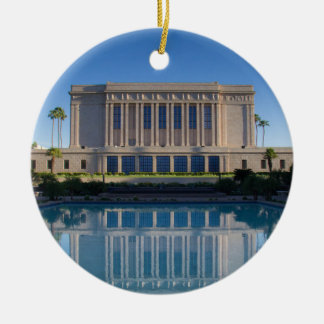 Mesa temple reflecting in a blue pool ceramic ornament