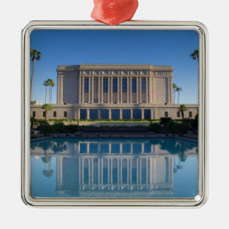 Mesa temple reflecting in a blue pool metal ornament