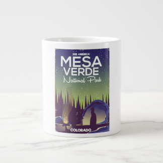 Mesa Verde National Park Camping travel poster Large Coffee Mug