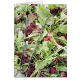 Mesclun salad mix with tongs card