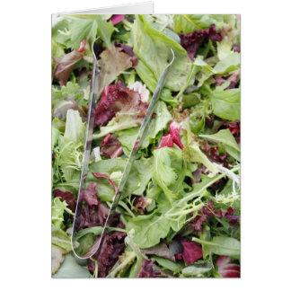 Mesclun salad mix with tongs card