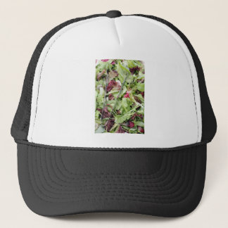 Mesclun salad mix with tongs trucker hat