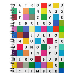 Meses españoles de diseño libreta espiral