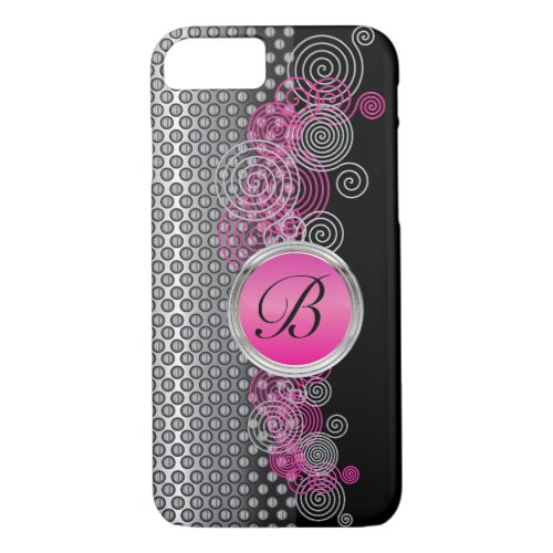 Mesh Steel with Circular Silver and Pink on Black Phone Case
