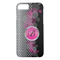 Mesh Steel with Circular Silver and Pink on Black iPhone 7 Case