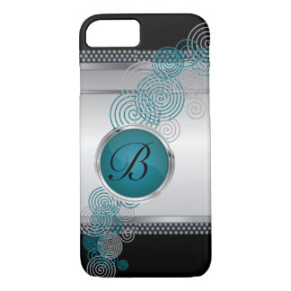 Mesh Steel with Circular Silver & Jade on Black iPhone 7 Case