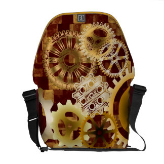 Meshing Gears on Gold and Bordeaux Abstract Blocks Messenger Bag