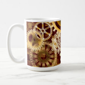 Meshing Gears on Gold and Bordeaux Abstract Blocks Classic White Coffee Mug